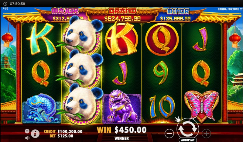 Panda's Fortune 2 :: Stacked wild leads to multiple winning paylines