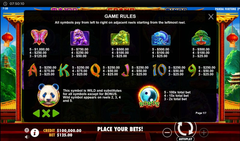 Panda's Fortune 2 :: Paytable