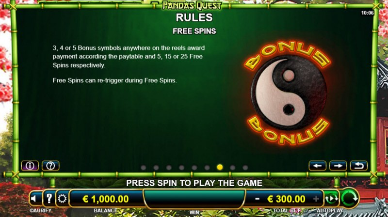 Panda's Quest :: Free Spins Rules