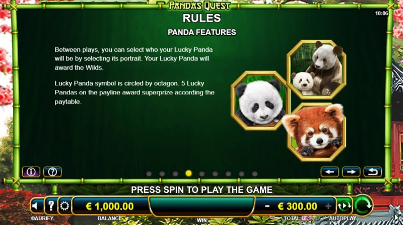 Panda's Quest :: Feature Rules