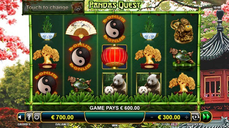 Panda's Quest :: Scatter symbols triggers the free spins feature