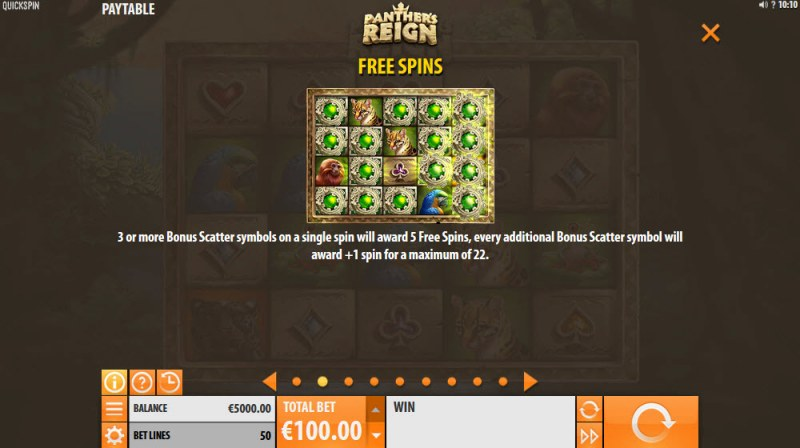 Panther's Reign :: Free Spins Rules