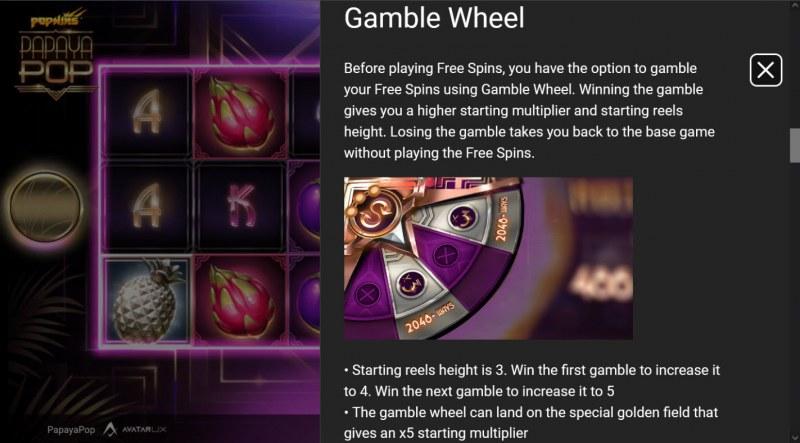 PapayaPop :: Gamble feature