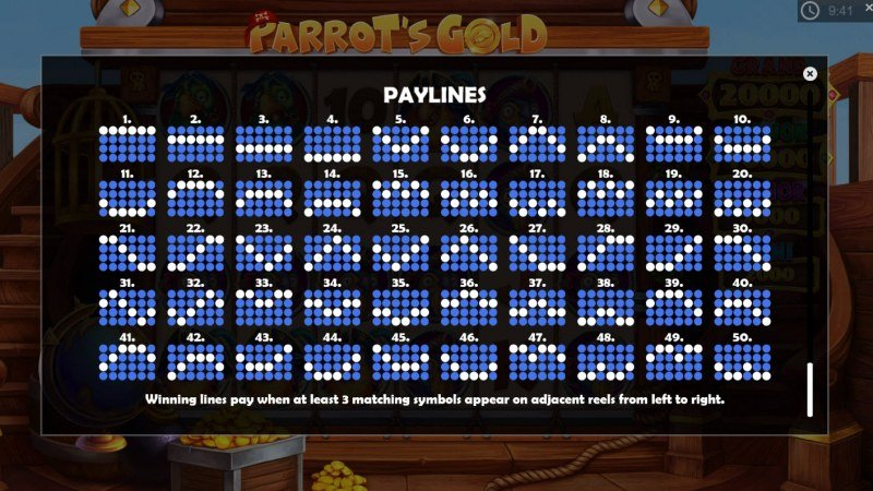 Parrot's Gold :: Paylines 1-50