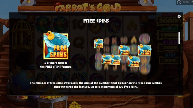 Parrot's Gold :: Free Spins Rules
