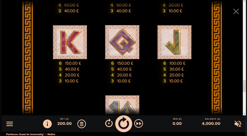 Parthenon Quest for Immortality :: Paytable - Low Value Symbols
