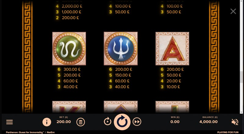 Parthenon Quest for Immortality :: Paytable - Medium Value Symbols
