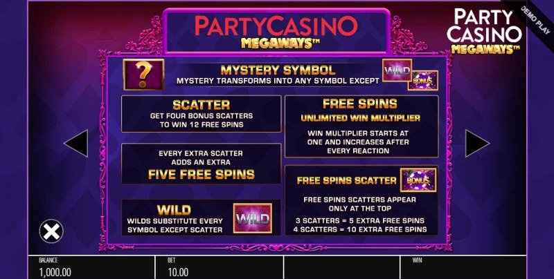 Party Casino Megaways :: Free Spins Rules