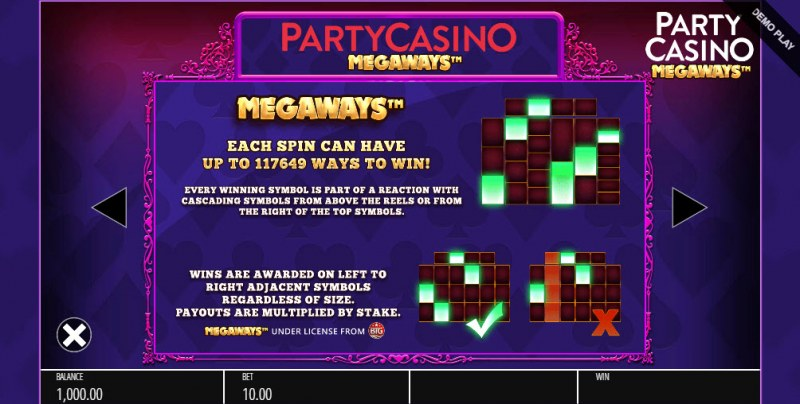 Party Casino Megaways :: Up to 117649 ways to win