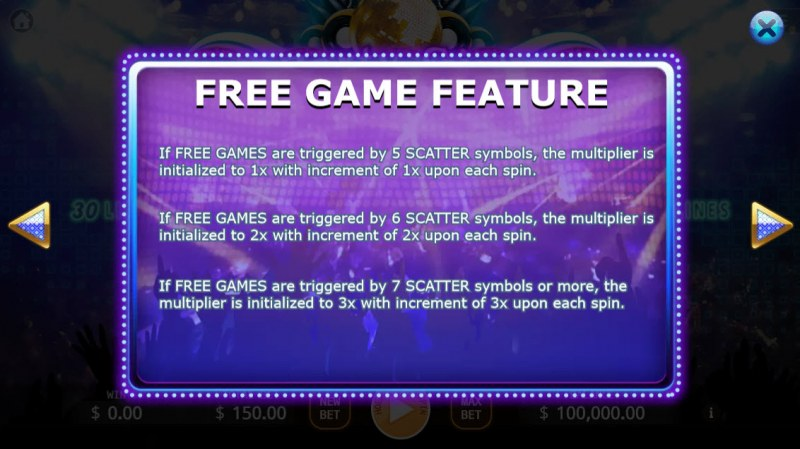 Party Girl :: Free Spins Rules