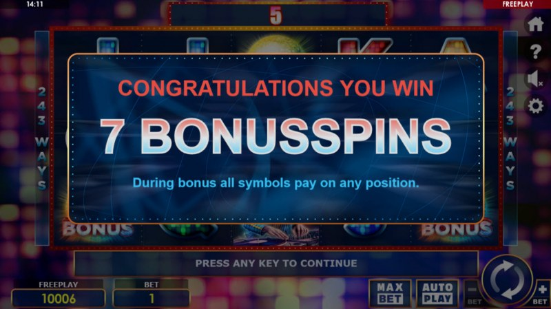 Party Night :: 7 Free Spins Awarded