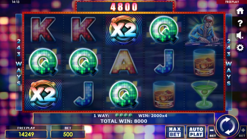 Party Night :: Multiple winning combinations with wild multipliers