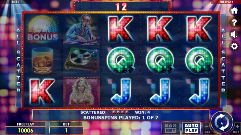 Party Night :: All symbols pay in any position during the free spins feature