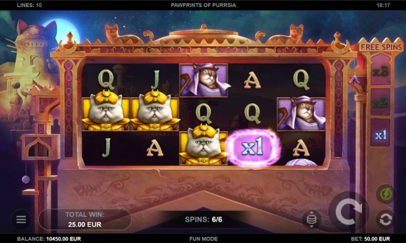 Pawprints of Purrsia :: Free Spins Game Board