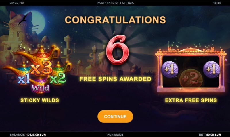 Pawprints of Purrsia :: 6 free spins awarded