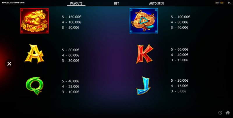 Pearl Legend Hold & Win :: Paytable - Low Value Symbols