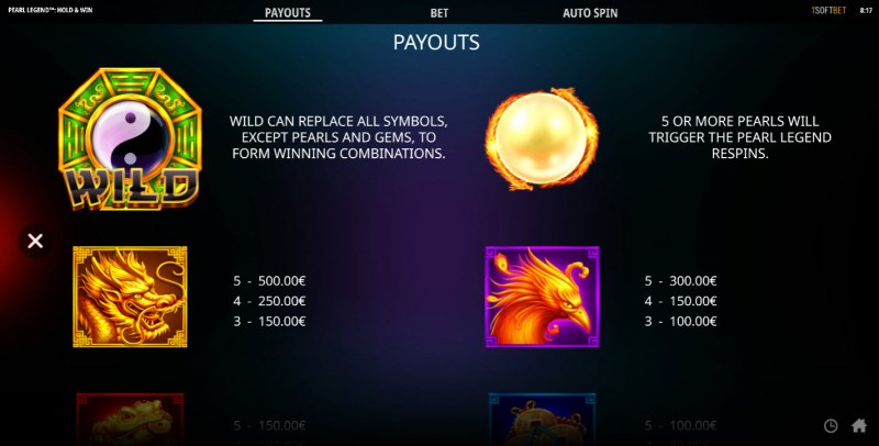 Pearl Legend Hold & Win :: Paytable - High Value Symbols