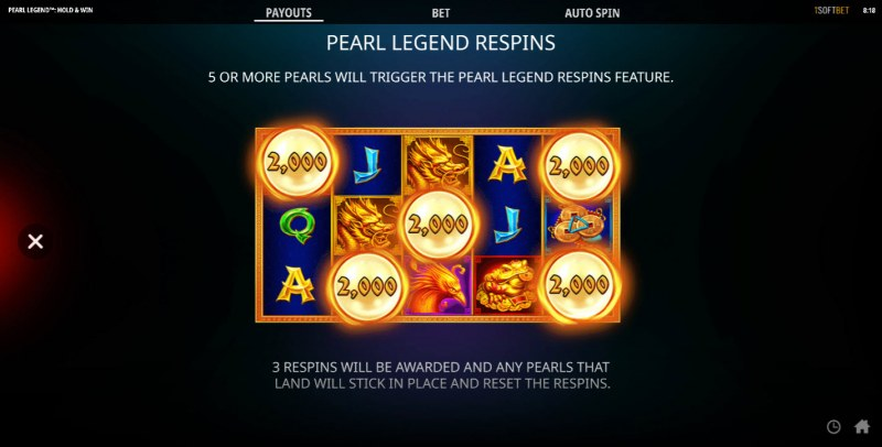 Pearl Legend Hold & Win :: Respins Feature