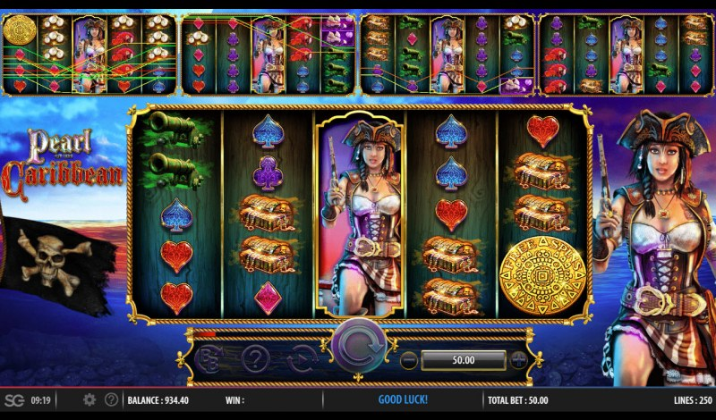 Pearl of the Caribbean :: Stacked wild symbols triggers multiple winning paylines