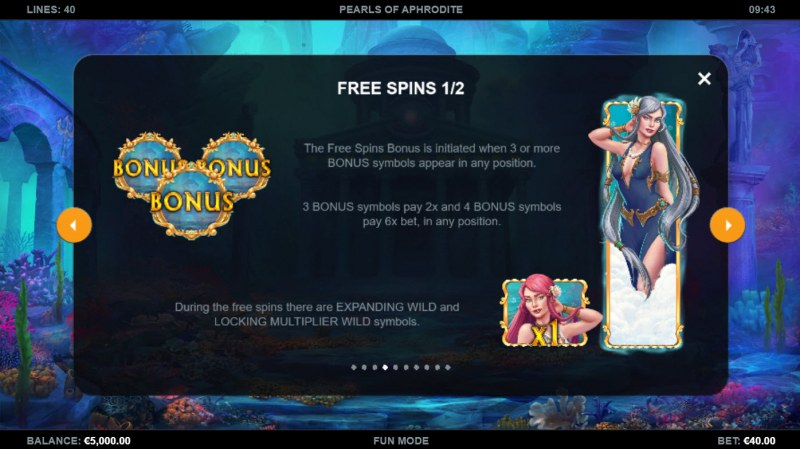 Pearls of Aphrodite :: Free Spin Feature Rules