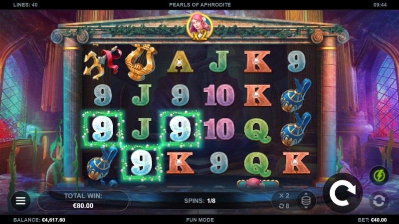 Pearls of Aphrodite :: Free Spins Game Board