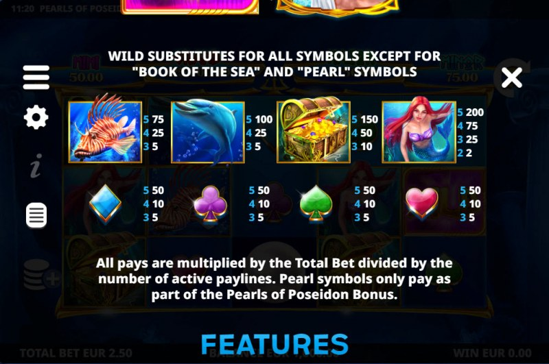 Pearls of Poseidon :: Paytable