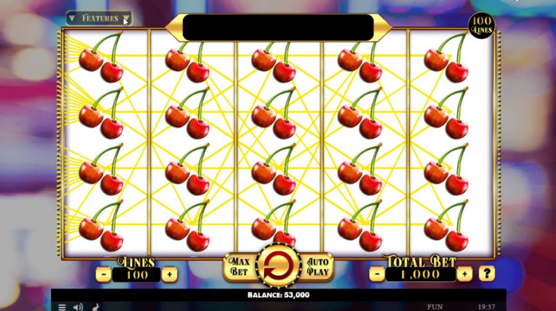 Penny Fruits Extreme :: Fully stacked cherry symbols leads to a big win