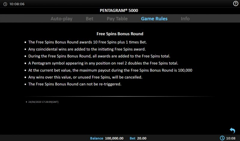 Pentagram 5000 :: Free Spin Feature Rules