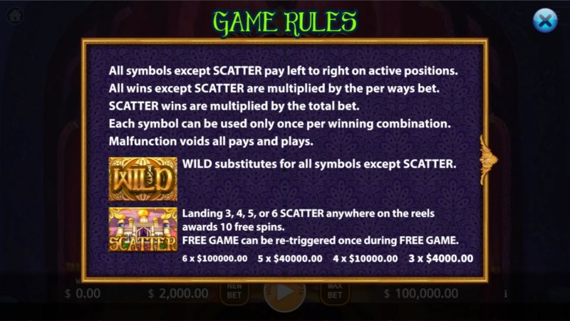 Persia Bonanza Megaways :: Wild and Scatter Rules