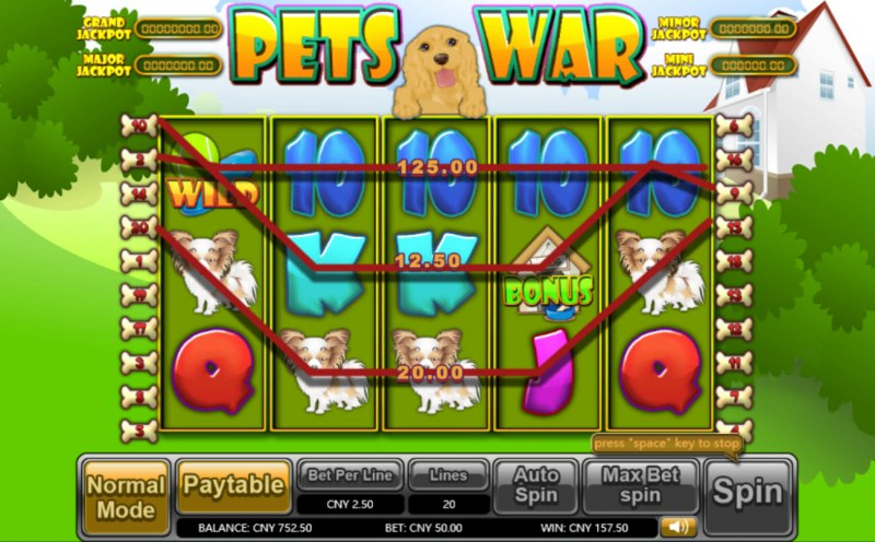 Pets War :: Multiple winning paylines