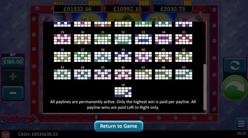Petsburgh :: Paylines