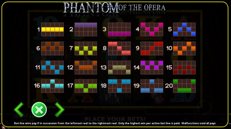 Phantom of Opera :: Paylines 1-20
