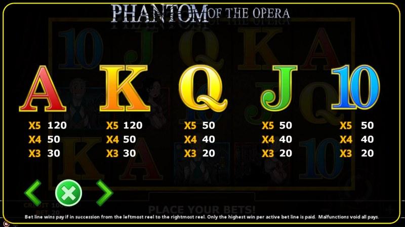 Phantom of Opera :: Paytable - Low Value Symbols