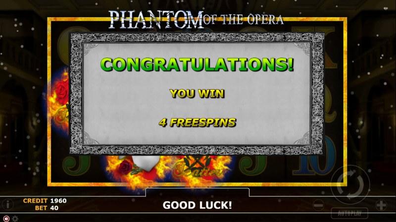 Phantom of Opera :: 4 Free Spins Awarded