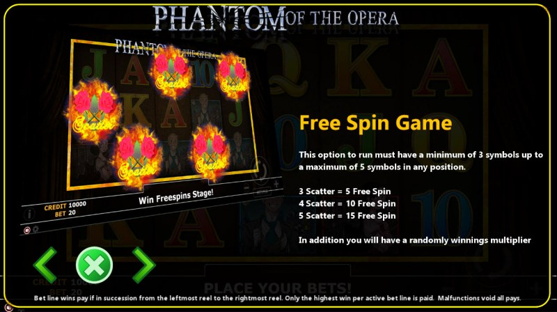 Phantom of Opera :: Free Spins Rules