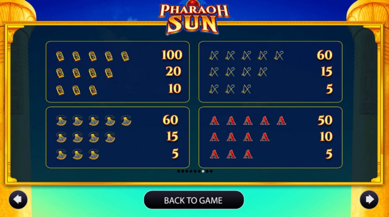 Pharaoh Sun :: Paytable - Medium Value Symbols