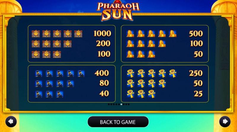 Pharaoh Sun :: Paytable - High Value Symbols