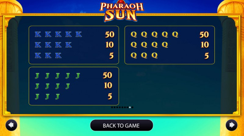 Pharaoh Sun :: Paytable - Low Value Symbols