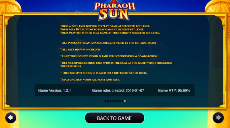 Pharaoh Sun :: General Game Rules