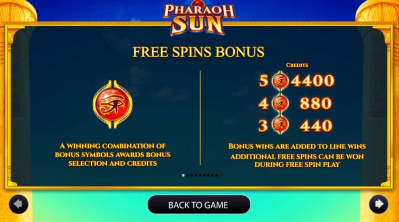 Pharaoh Sun :: Free Spins Rules