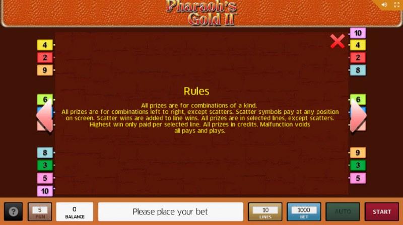 Pharaoh's Gold II :: General Game Rules