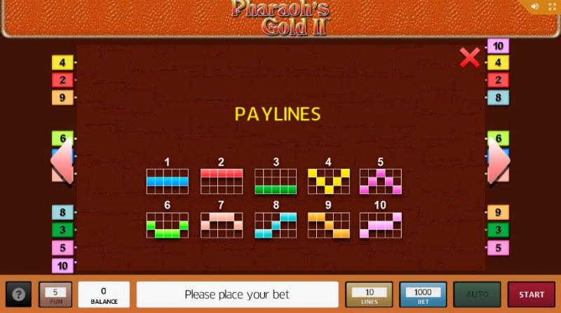 Pharaoh's Gold II :: Paylines 1-10