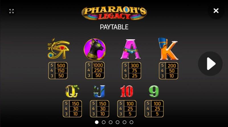 Pharaoh's Legacy :: Paytable