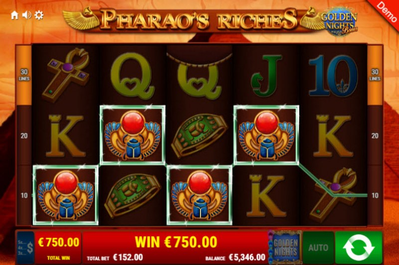 Pharao's Riches Golden Nights Bonus :: Free Spins Game Board