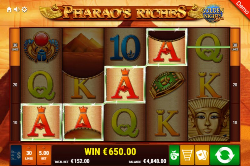 Pharao's Riches Golden Nights Bonus :: Four of a kind Win