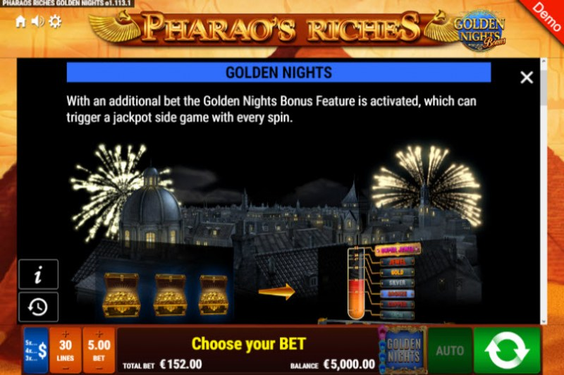 Pharao's Riches Golden Nights Bonus :: Golden Nights Bonus Feature
