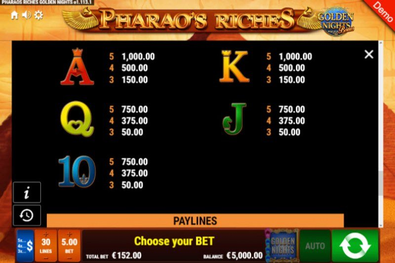 Pharao's Riches Golden Nights Bonus :: Paytable - Low Value Symbols