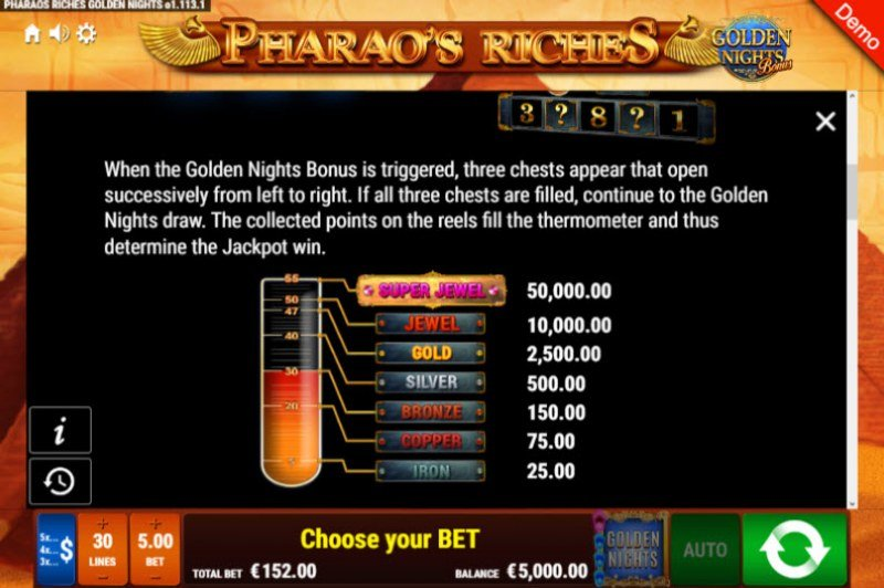 Pharao's Riches Golden Nights Bonus :: Bonus Game Rules
