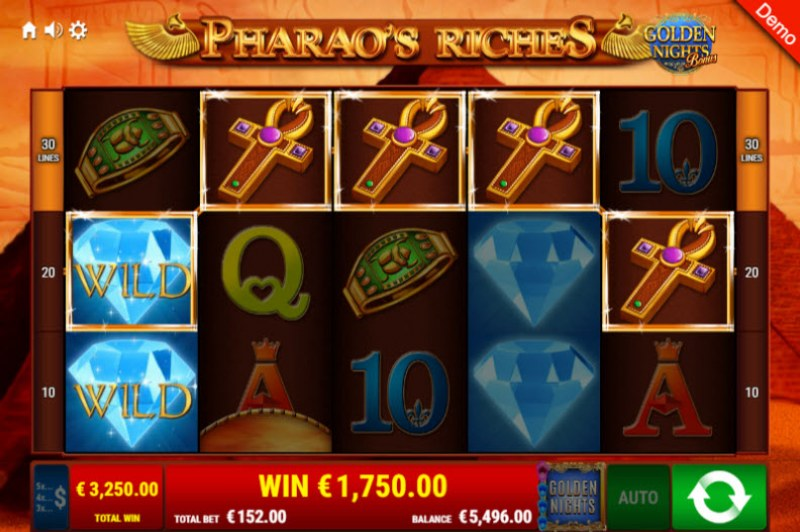 Pharao's Riches Golden Nights Bonus :: A five of a kind win