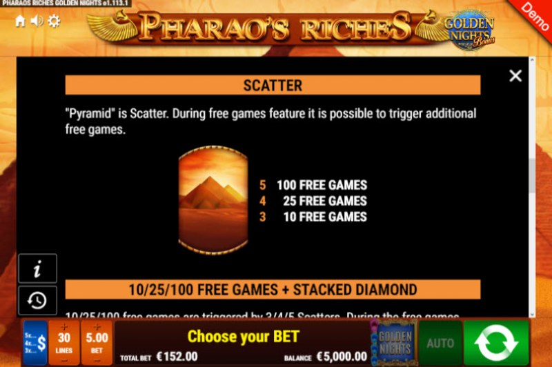 Pharao's Riches Golden Nights Bonus :: Scatter Symbol Rules